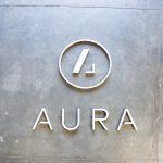 Aura acrylic and walnut backed wood sign