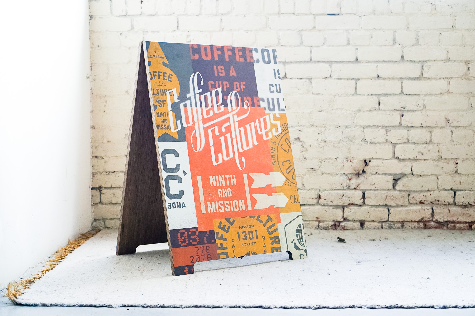 coffee cultures printed modern cafe a-frame sandwich board sign