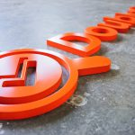 Doublecheck research orange satin matte finish dimensional logo sign for lobby