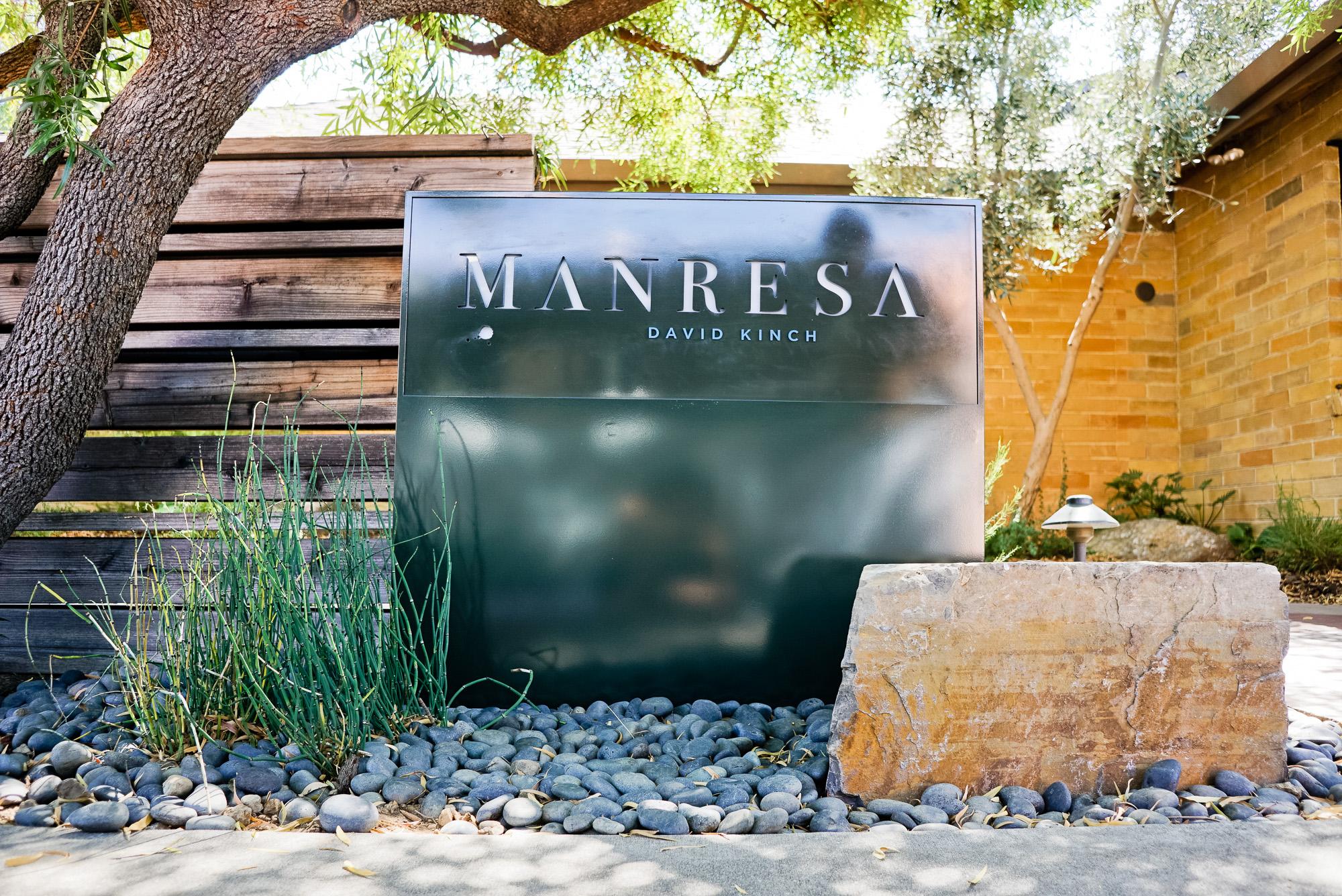 Manresa restaurant modern simple illuminated monument sign