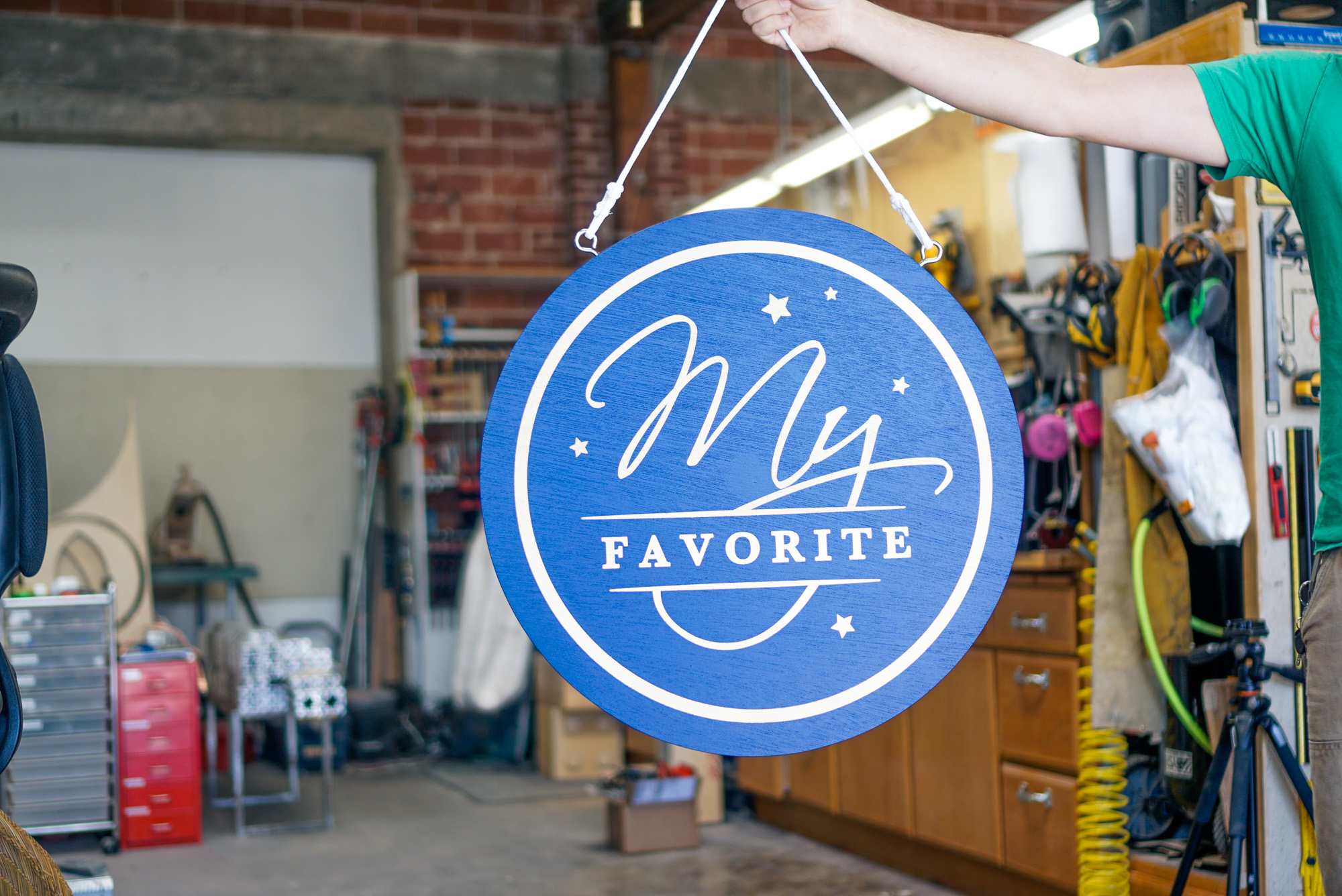 Blue and gold retail hanging sign