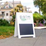 Palm Acai Modern Clean White Cafe A-Frame Sidewalk Sign