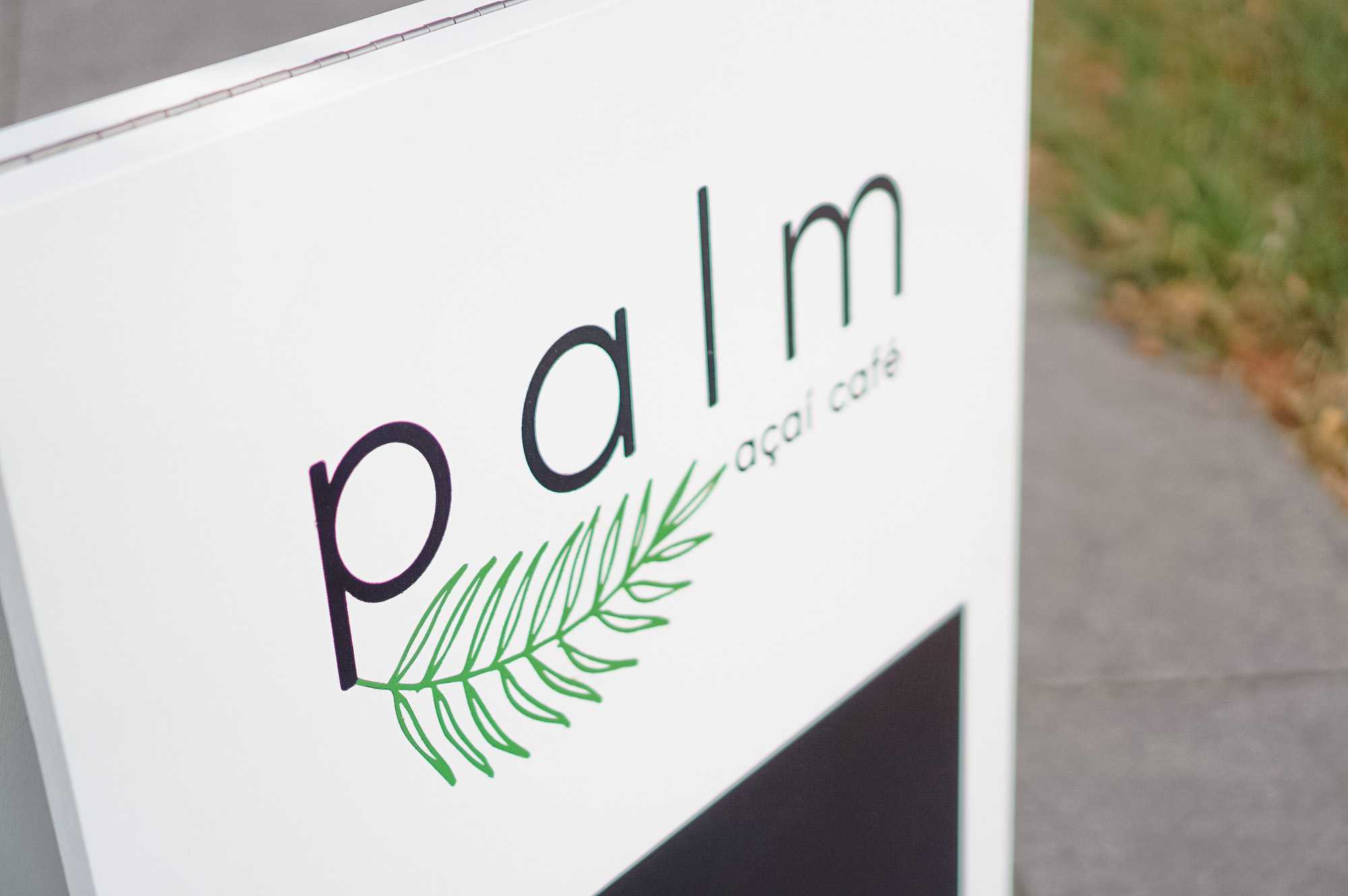 Palm Acai Modern Clean White Cafe A-Frame Sidewalk Sign