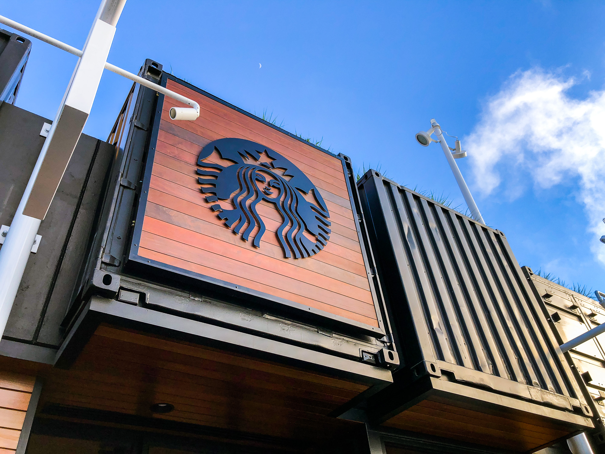 Starbucks large wood slat container sign