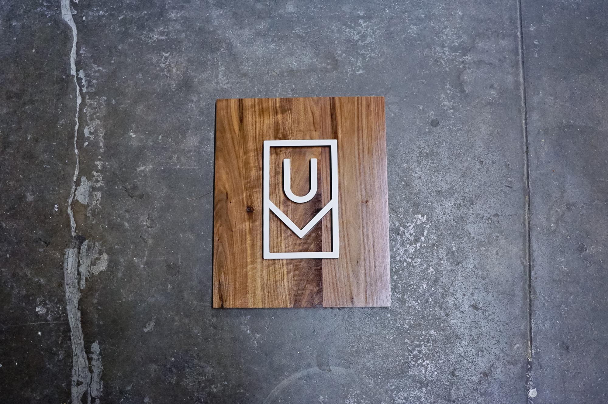 Ugmonk modern walnut and white logo / icon sign