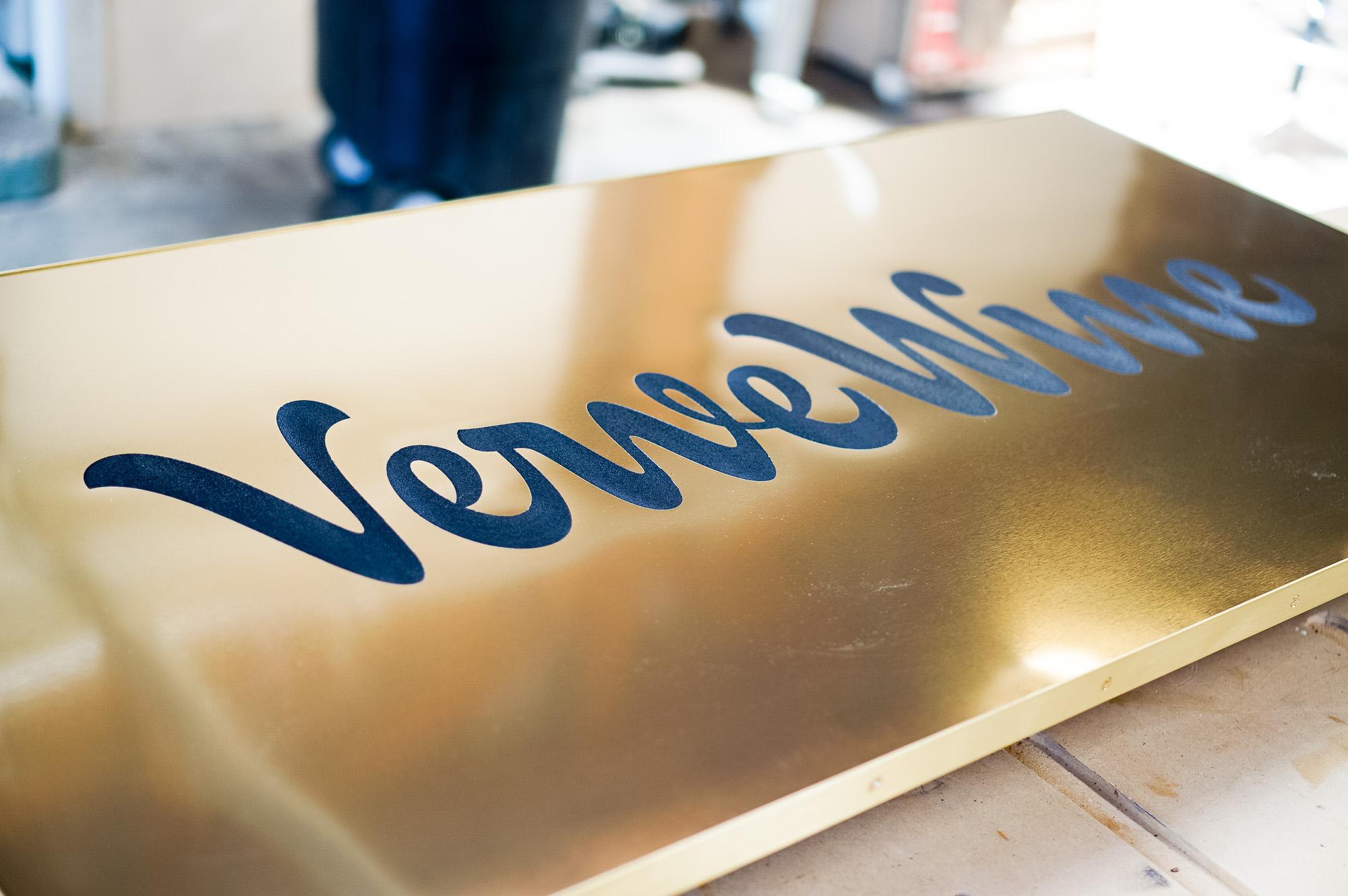 Verve Wine Copper Brass Bronze Modern Retail Hanging Blade Sign with script