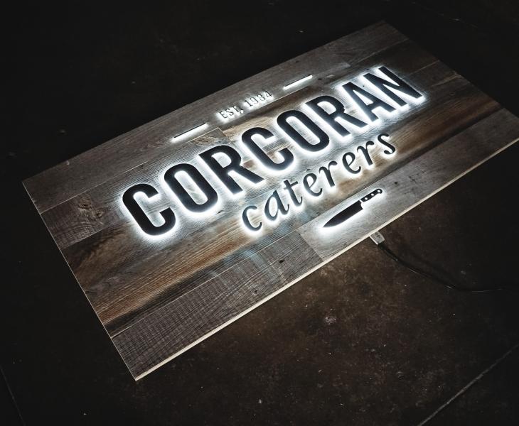 Corcoran Caterers Illuminated Sign