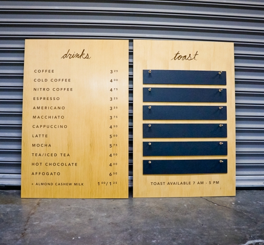 Four Barrel Coffee Changeable Menu