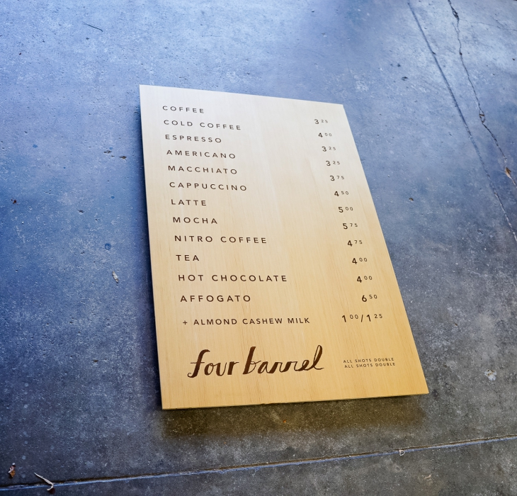 Four Barrel Coffee Menu