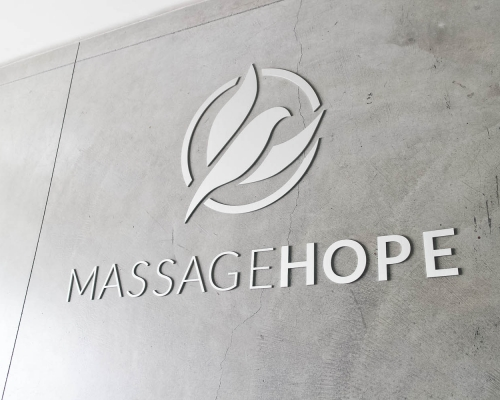 Massage Hope Floating Metal Sign in Platinum