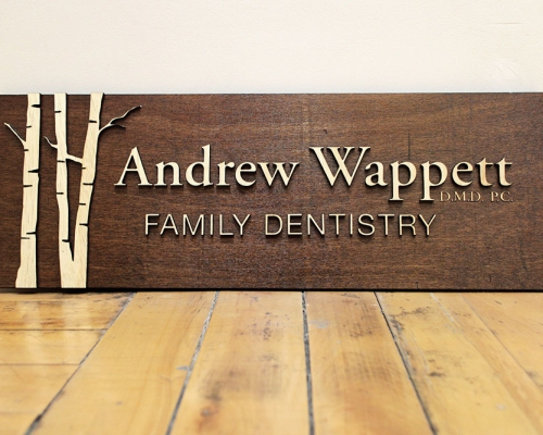 Andrew Wappett Wood Dentist SIgn