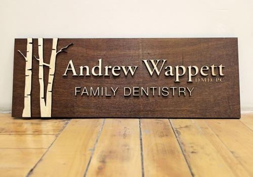Andrew Wappett Wood Dentist SIgn
