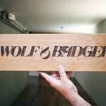 Wolf & Badger Etched Sign