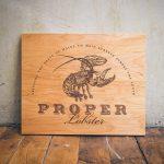 Etched wood sign for Proper Lobster