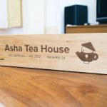 Asha Tea House Tabletop Sign
