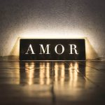 Amor illuminated wood sign