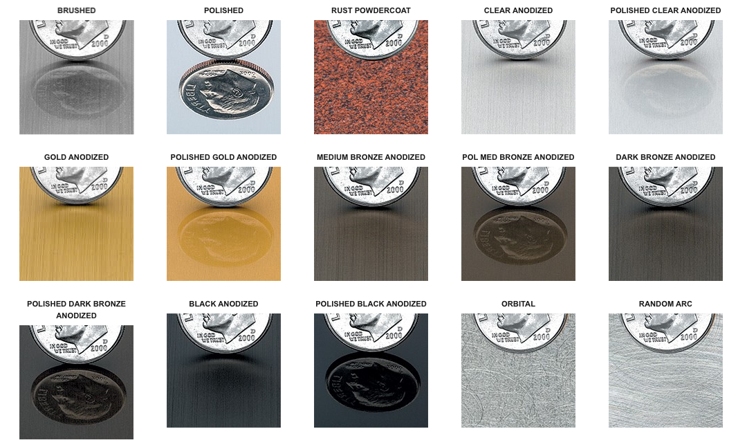 finish options for metal signage