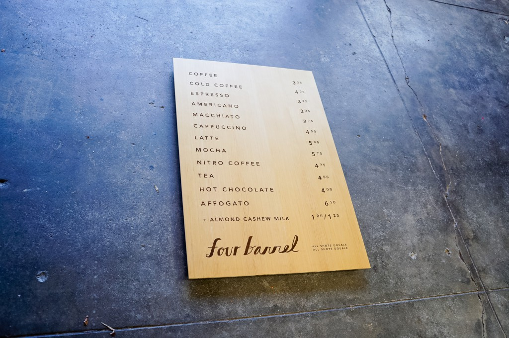 Four Barrel Menu