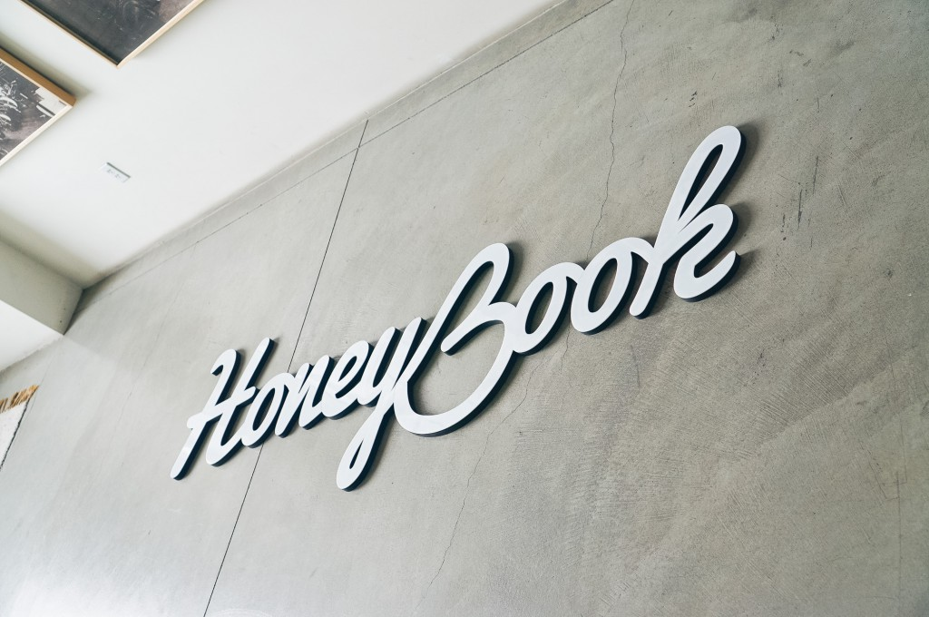 HoneyBook Glossy White Sign