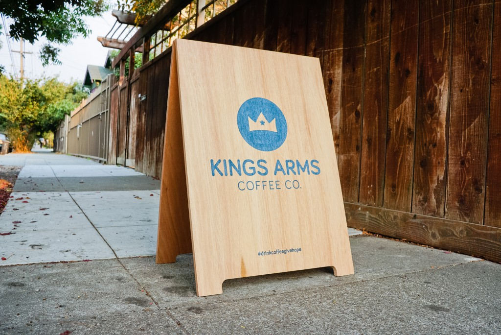 Kings Arms Coffee Wood A-Frame Sign