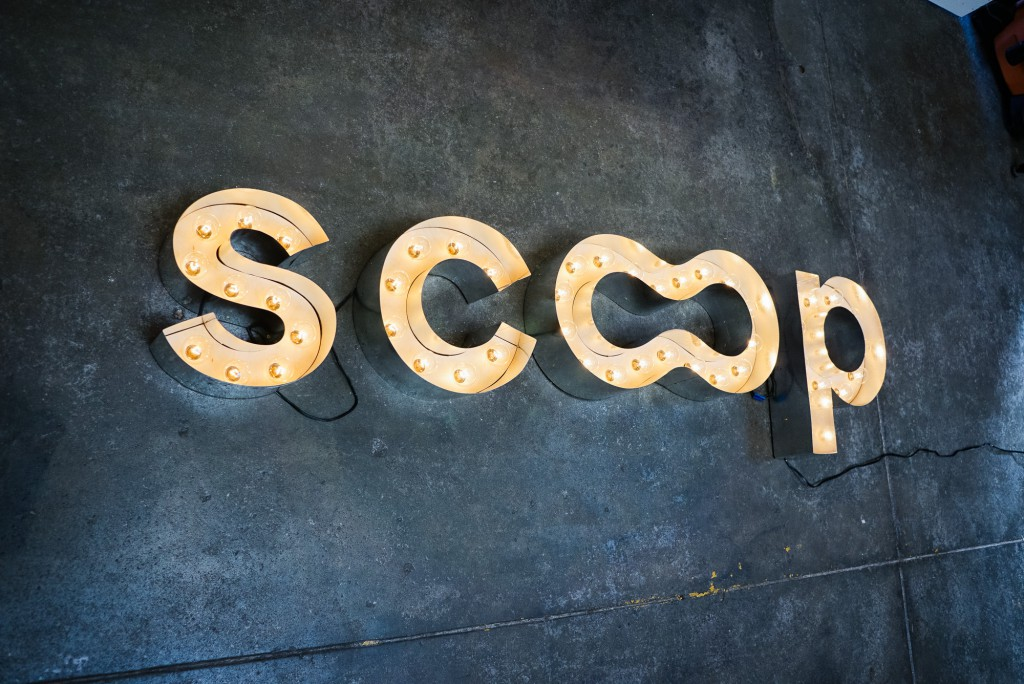 scoop illuminated vintage marquee sign