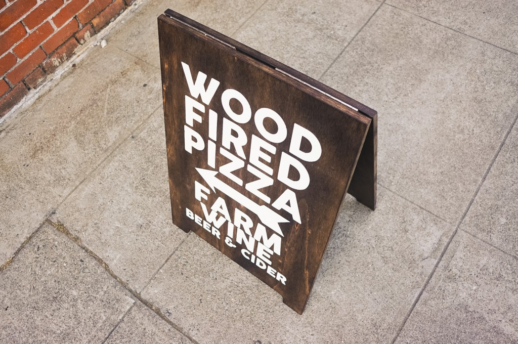 Wood Fired Pizza Torched Wood Sidewalk A-frame Sign