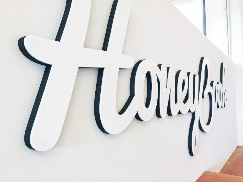 HoneyBook Glossy White Sign
