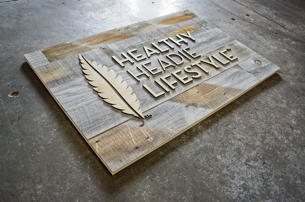 healthy headie reclaimed wood sign