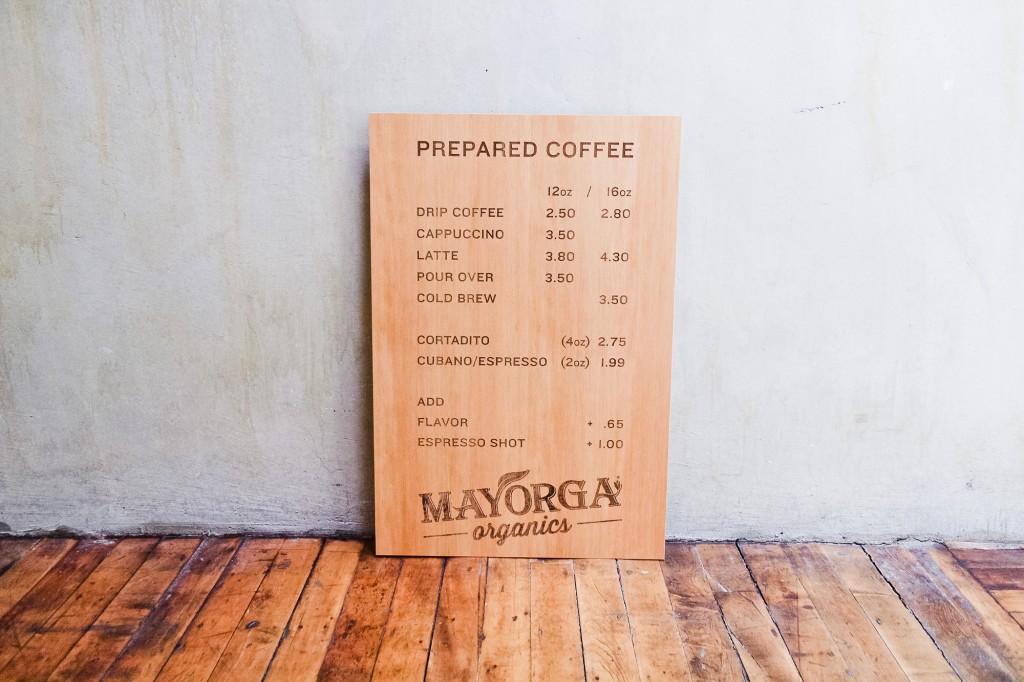 Mayorga Organics Etched Wood Menu