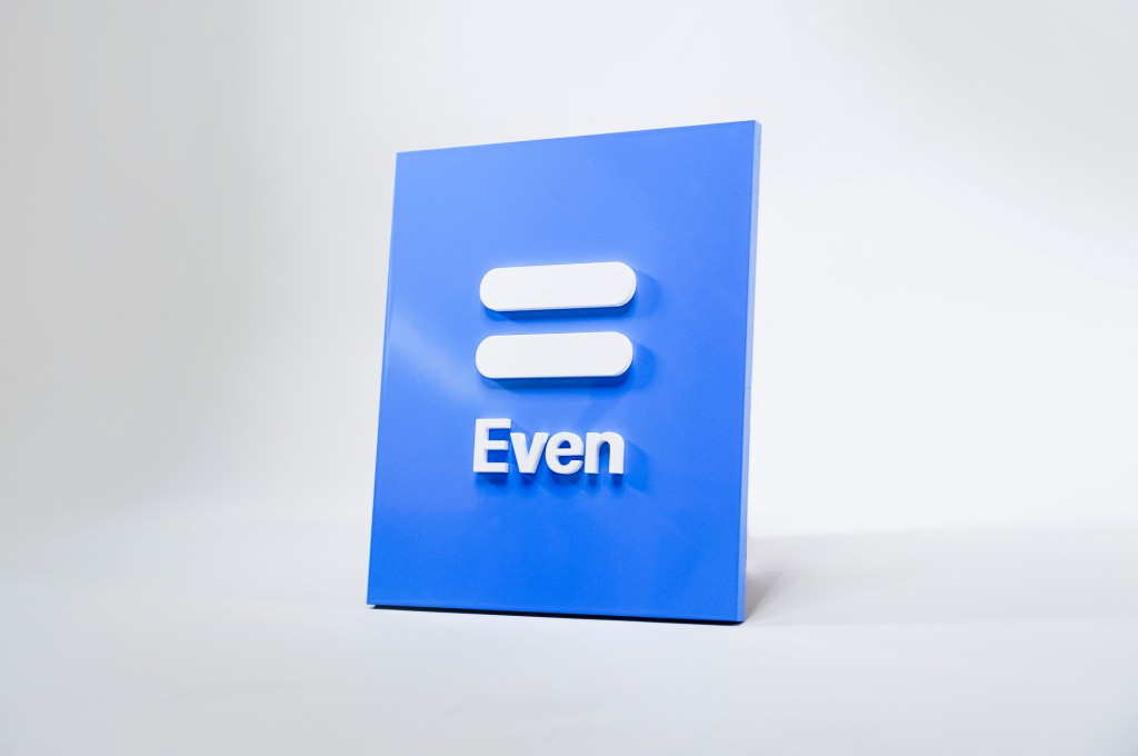 Even glossy blue and white modern dimensional plaque sign