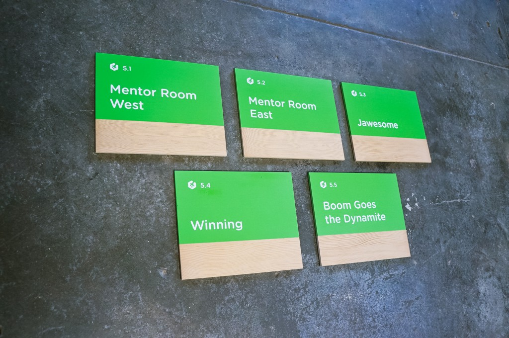Treehouse tech/startup modern wood and pantone color matched meeting room signs