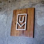 Ugmonk modern walnut and white logo / icon sign