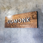 Ugmonk solid walnut raised wood logo sign for home office