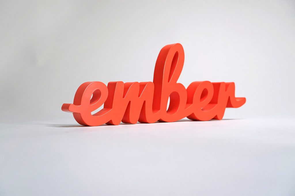 red script freestanding cocktail table sign for Ember Conference 2018