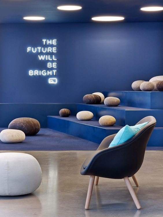"""The future will be bright"" neon sign at the Fullscreen office, designed by Rapt studio."