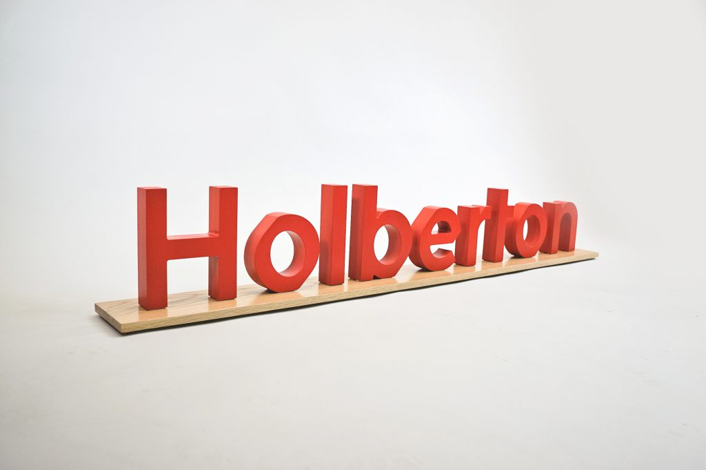 Freestanding red stage event letters for Holberton, a computer training school located in San Francisco, CA.