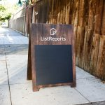 Listreports rustic dark torched wood a-frame sidewalk sign with chalkboard