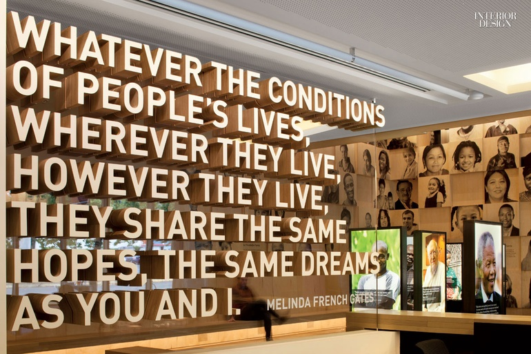 Quote in laminated plywood, mounted on acrylic at the Bill & Melinda Gates Foundation in Seattle. (Photo: Lara Swimmer)