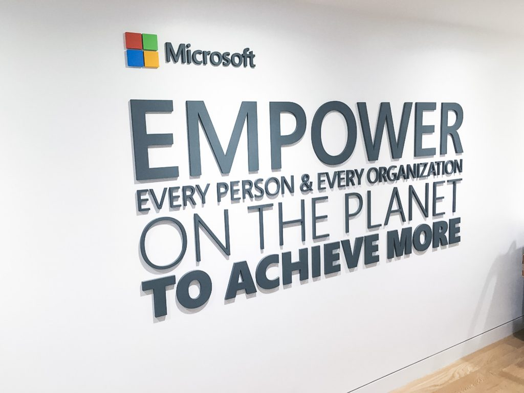 Mission statement wall signage at Microsoft office