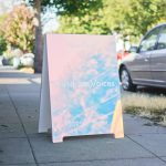 dichroic mirrored a-frame sign for outdoor voices