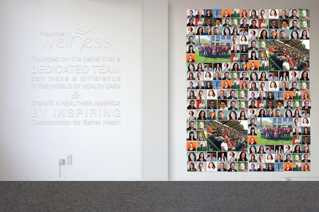 Mission statement and photo wall at the Prescribe Wellness office