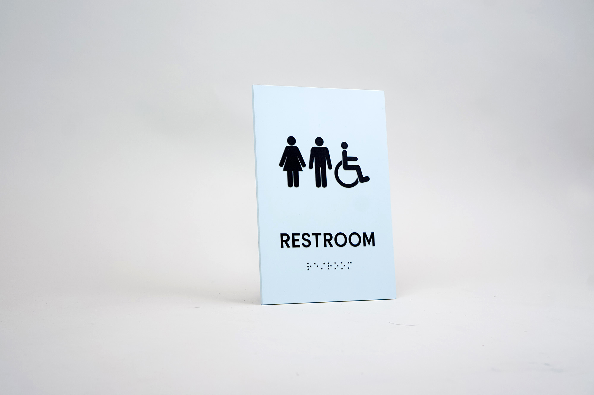 Custom ADA restroom sign for The Wing, a co-working space in San Francisco.