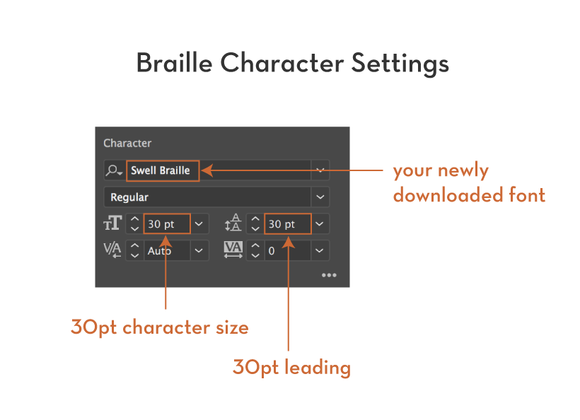 Braille Character Settings in Adobe Illustrator