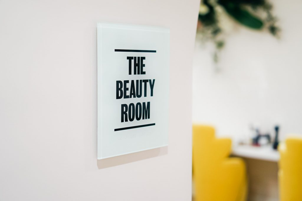 The Beauty Room Sign at The Wing San Francisco, a co-working space for women.