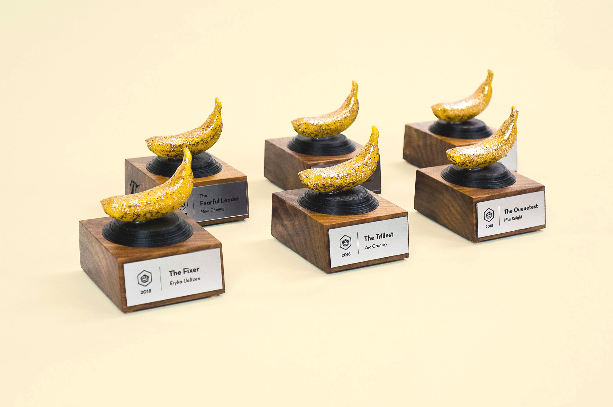 Sparkly banana shaped awards for Tinkering Monkey