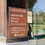 Parking fee sign for the ticket booth at Oakland Zoo