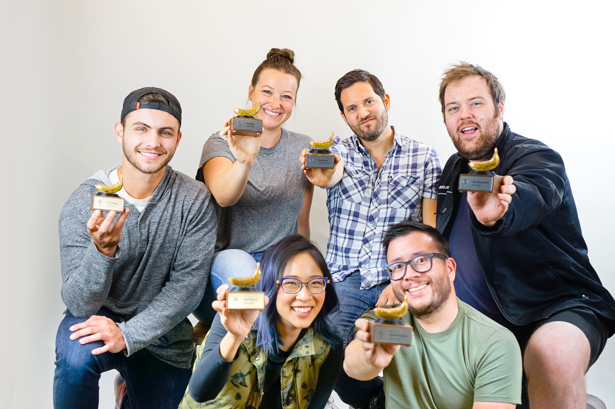 Tinkering Monkey team with sparkly banana shaped awards