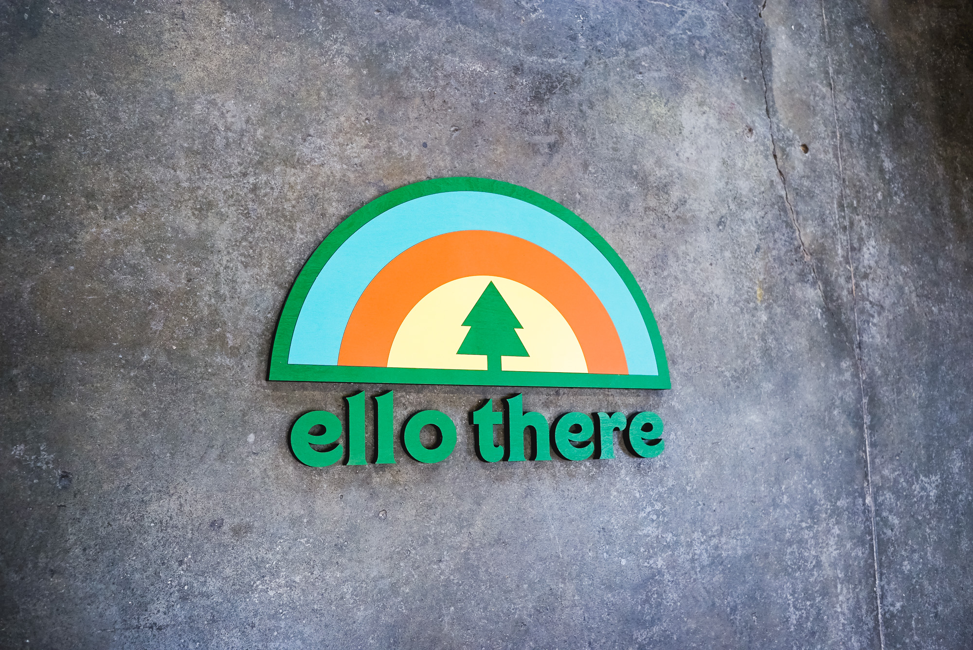 Painted tradeshow/event sign for the booth of Ello There, a lifestyle company dedicated to the life of a traveler.