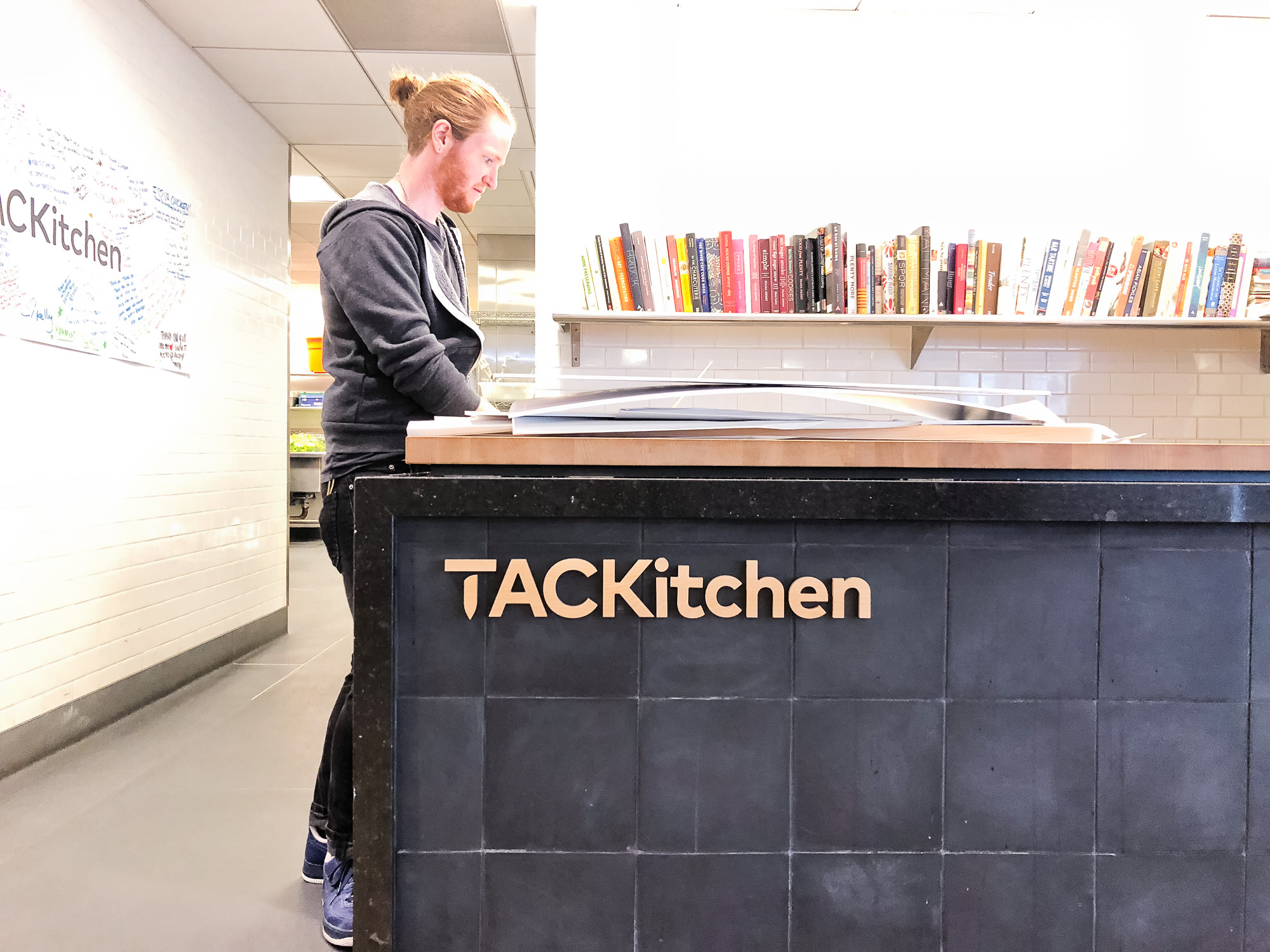 Wood letters on front counter at the cafeteria/kitchen of Thumbtack, an online service that matches customers with local professionals.