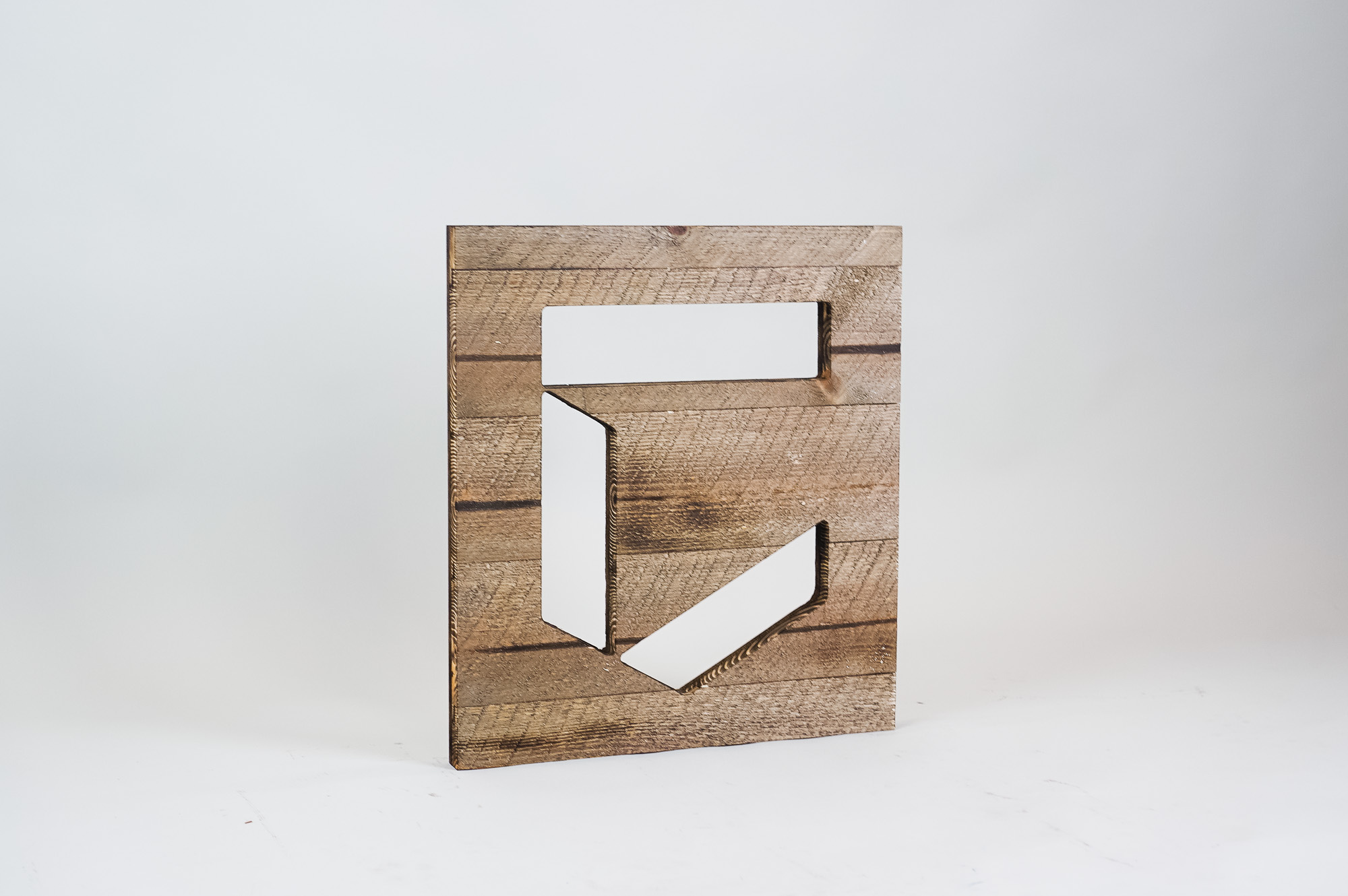 Rustic wood freestanding tabletop logo and letters for a sales conference for Chronicle Security, a cybersecurity company based in Mountain View, California.